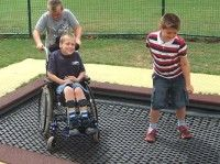 Trampoline for everyone at an Accessible and Inclusive Playground in Devon, UK