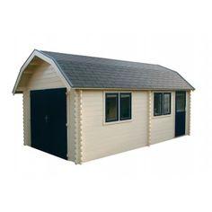 Moderne garage Colorado 395 Grandcasa: - Houtdikte: 33mm- Totale afmeting blokhut (bxd): 414x504 cm, dieptemaat is variabel- Type dak: Mansardedak- Binnenmaat (bxd): 395x485 cm- Wandhoogte: 221 cm- Dakhelling: 42 graden en 24 graden- Deur: dubbele houten garagedeur- Dakbedekking:Dakshingles De moderne garage wordt geleverd incl.:Opbouwbeschrijving, echt glas 4 mm, dakshingles, hang en sluitwerk en bevestigingsmaterialen.Als optie te verkrijgen: De funderingsbalken, vloer, wanddikte 45 mm…