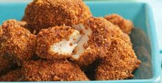 Spicy Pecan Popcorn Chicken  | KitchenDaily.com, from eatingwell, with a dipping sauce
