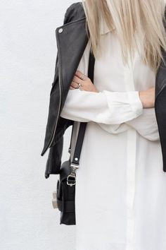 black and white outfit with leather jacket and shirt dress