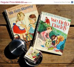 Rare Little Golden Book Set ~We Help Mommy 352A We Help Daddy 468A Miniature We Help Mommy 11 - pinned by pin4etsy.com