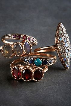 Garnet Trinity Ring in 14k Rose Gold - anthropologie.com #anthrofave