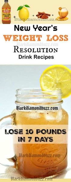 New Year's Weight Loss Resolution Drink Recipes-Lose 10 pounds in 7 Days- Active Recipes; apple cider vinegar + Cinnamon + Lemon + Raw honey = Fat Burning Detox Drink! #resolutions #applecidervinegar #weightwatchers #drink #newyear #2018