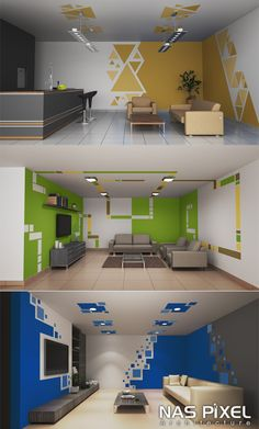 أفكار للتصميم الداخلي بواسطة الدهانات. من NAS Pixel  Ideas for design by paint. by NAS Pixel Interior Design, Painting, Nest Design, Home Interior Design, Interior Designing, Painting Art, Paintings, Home Decor, Painted Canvas
