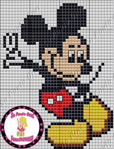 Turma do Micke Disney Cross Stitch Patterns, Cross Stitch Charts, Cross Stitch Embroidery, Mickey Mouse Characters, Mickey Mouse And Friends, Plastic Canvas Books, Plastic Canvas Patterns, Mickey Mouse Blanket, Knitting Charts