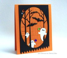 The new Swirling Ghosts and bats from the new Bat Cave popped into the Woodland Oval for a quick fall card today. Jean Okimoto here with a Halloween design that's probably a little more smiley than it is scary. The three dies are from our Holiday 2015 Collection. Diecut the bottom with the zigzag from the Stitched Country Borders Die for a threatening half-Jaws look. Are you scared now