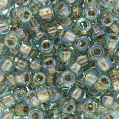 Size 6 Copper Lined Transparent Aqua Round Japanese Seed Bead | Fusion Beads