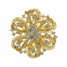 Fabulous, sparkly gold plated brooch.  Perfect for dressing up your gown or accenting your bridesmaids!