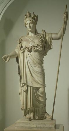 Athena Hope-Farnese. This statue of Athena is a Roman copy of a Greek original of the late 5th century BCE. The elaborate helmet of the Goddess is inspired by the one of Athena Parthenos in the Parthenon. Restored are the arms, animals on the helmet and cheekpieces, and some aegis snakes. Roman period, Height 224 cm. Naples, National Museum.