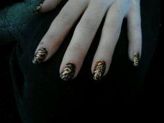Tiger/zebra/cheets print glitter sparkle nails