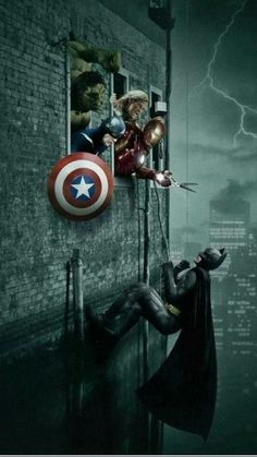 """Box Office Fight - the nerd in me goes """"eh, would never happen. The Avengers are Marvel an Barman's DC. Marvel Dc Comics, Marvel Vs, Marvel Heroes, Marvel Characters, Batgirl, Catwoman, Two Worlds, Die Rächer, Univers Marvel"""