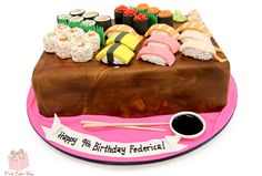 The last sushi groom's cake we did was back in So it was about time we did another one! This groom's cake sushi platter includes several different Sushi Platter, Cake Platter, Mini Cakes, Cupcake Cakes, Cupcakes, Beautiful Cakes, Amazing Cakes, Pink Cake Box, Sushi Cake