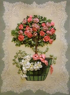 Bordado con cintas    Pretty Pink Roses ~ Beautiful Ribbon Embroidery!
