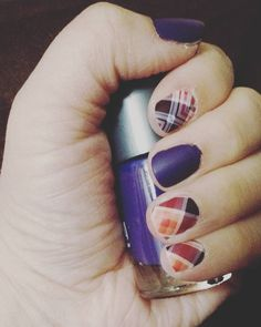 Jamberry Poised Plaid (Matte) with Jamberry lacquer in Iris  Lorraine Hauger Instagram lorrainehauger