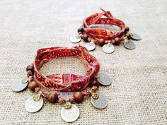 Matching Boho Gypsy Coin Anklets / Bracelets w by gypsykicks