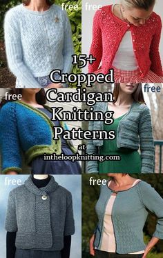 Knitting patterns for cropped cardigans, boleros, jackets with short and long sleeves