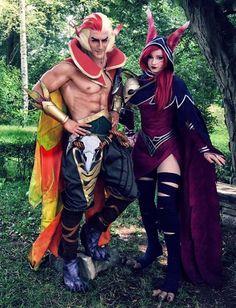 Xayah & Rakan from League of Legends  cosplay by Enji Night and Leon Chiro Cosplay Art #xayahcosplay #rakancosplay #leagueoflegends