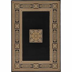 Teppich Da Vinci in Schwarz/Beige Astoria Grand Teppichgröße: Rechteckig 300 x 390 cm, Black And Grey Rugs, Dark Grey Rug, Neutral Carpet, Black Carpet, Golden Pattern, Black Gold Jewelry, Nice Jewelry, Transitional Area Rugs, Gold Rug