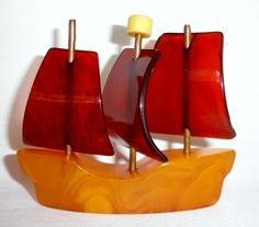 Miniature bakelite ship with sails, c. 1930s-1940s