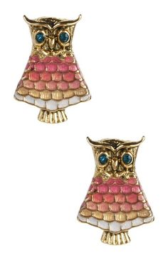 Pink Owl Stud Earrings