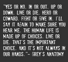 """Yes or no. In or out. Up or down. Live or die. Hero or coward. Fight or give in. I'll say it again to make sure that you hear me. The human life is made up of choice. Live or die. That's the important choice. And it's not always in our hands."" -Grey's Anatomy quote."