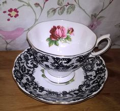 ROYAL ALBERT SENORITA Tea Cup and Saucer. Black Lace and Roses Teacup Duo. Very Rare Vintage Tea Set. 1950s, by PrettyVintageHome on Etsy