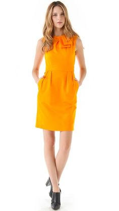 Nanette Lepore Waterfall Dress, fabulous color with classic lines and a little whimsy at the neckline