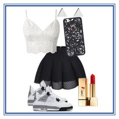 """J's on my feet"" by mhizzdebbiboo ❤ liked on Polyvore featuring NIKE, Jennifer Meyer Jewelry and Yves Saint Laurent"