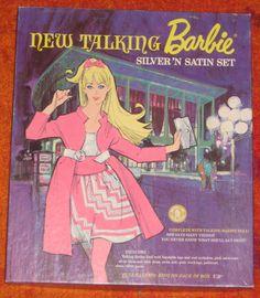 Talking Barbie Silver 'n Satin Gift Set Mattel Dolls, Vintage Barbie Dolls, Barbie Barbie, Vintage Comics, Vintage Art, Barbie Friends, Barbie World, Collector Dolls, Poster