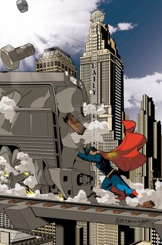 for Superman: The power within contest. This is a very classical image of superman, him stopping a train, done by a lot of artist, thought I think the f. Superman: The power within Superman Images, Superman Art, Superman Man Of Steel, Superman Wonder Woman, Superman Comic Books, Superman Family, Arte Dc Comics, Batman Comics, Aquaman