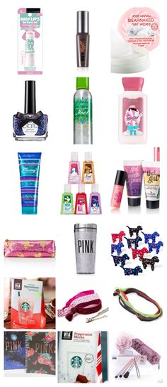 Stocking ideas for Ellie- I really like the nail wipes, bath & body works and starbucks, elastic hair ties, and pink stuff