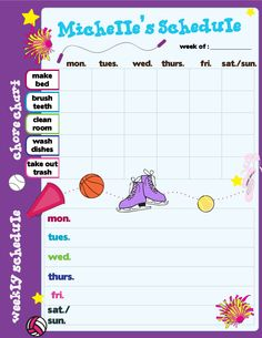 Our personalized schedule pad has enough room for chores and school activites, it's like two pads in one!