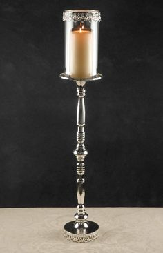 "Tall Silver 31""  Candleholder with Glass Shade $39 each / 3 for $37 each"