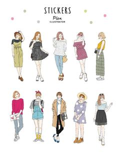 Girls wear out / 20 into stickers - pion - Stickers Printable Stickers, Cute Stickers, Cute Kawaii Drawings, Cute Art Styles, Fashion Design Drawings, Drawing Clothes, Journal Stickers, Aesthetic Stickers, Anime Outfits