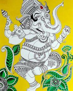 Ganesha Drawing, Ganesha Painting, Ganesha Art, Lord Ganesha, Shri Ganesh, Indian Traditional Paintings, Indian Art Paintings, Traditional Art