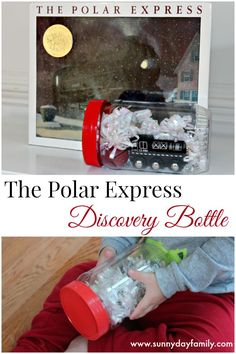 Discovery bottle based on The Polar Express! A perfect Christmas book activity for train lovers.: Discovery bottle based on The Polar Express! A perfect Christmas book activity for train lovers. Polar Express Party, Polar Express Crafts, Polar Express Activities, Train Activities, Book Activities, Preschool Christmas, Toddler Christmas, Christmas Activities, Winter Activities