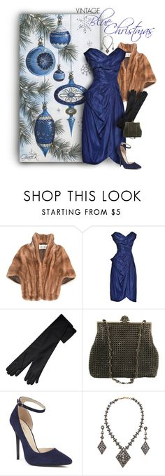 """""""Vintage Blue Christmas"""" by gracekathryn ❤ liked on Polyvore featuring Larisa Barrera, Nine West, Amrapali and vintage"""
