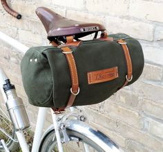 This plus panniers, frame bag, handlebar storage, and a backpack = being able to carry a ton of crap on a bike! // Classic Vintage Style Bicycle Bag Made to Order by snootsie