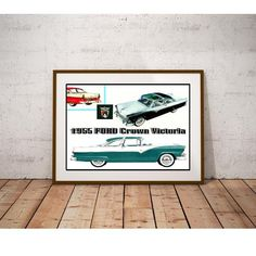 1955 Crown Victoria Classic Car Poster by MyGenerationShop on Etsy