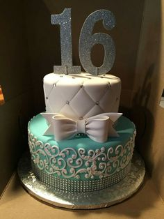 Pretty Image of Birthday Cake Ideas Birthday Cake Ideas Tiffany Themed Cake For A Sweet 16 Cake Anna Cakes Annacakes Sweet Sixteen Cakes, Sweet 16 Cakes, Sweet Sixteen Parties, Cute Cakes, Sweet 16 Birthday Cake, Cupcake Birthday, 16th Birthday Cakes, Birthday Ideas, Sixteenth Birthday