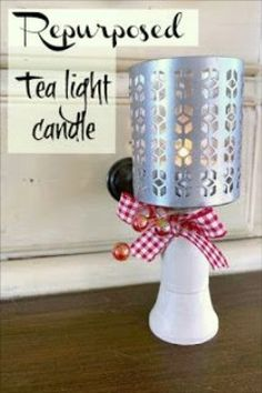 Tea Light Candle Ideas for the Holidays. Repurposed Pedestal Tea Light Candle Ideas for the holidays. Repurposed Pedestal Tea Light Candle Ideas for the holidays. Diy Candles, Tea Light Candles, Tea Lights, Rustic Light Fixtures, Rustic Lighting, Lighting Ideas, Christmas Craft Fair, Christmas Holidays, Cool Diy Projects
