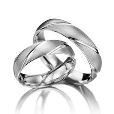 14k White Gold Matching Wedding Rings 5 mm
