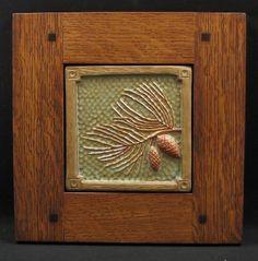 Pinecone tile in Morris oak frame, $129