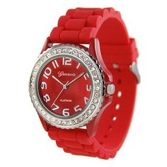 RED Silver Silicone Gel Band Crystal Bezel Women's Watch - Find Me The Cheapest Sale Price: $2.95