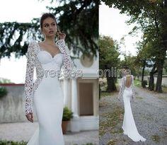 Wholesale A-Line Wedding Dresses - Buy Ivory Lace Illusion Long Sleeve Open Back Mermaid Berta Winter 2014 Wedding Dresses Sweetheart Court Train Satin Wedding Bridal Gowns, $122.52 | DHgate