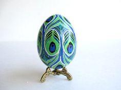 Peacock design Easter egg egg pysanka  with horses, Ukrainian Easter egg, hand painted goose egg shell