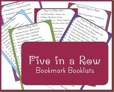 Five in a Row Booklist Bookmarks (lists of the books for the various volumes)..Liam 1st Grade