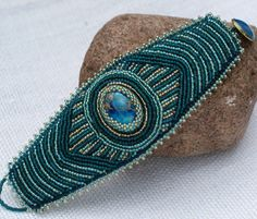 Bead embroidery bracelet   Blue Sea sediment jasper by KingaDesign