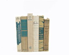 Shabby Chic Vintage Book Decoration ~ Rustic Beige/Teal