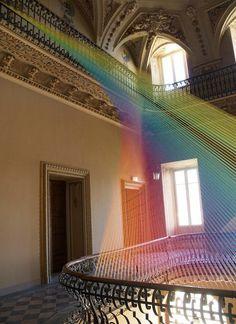 Agora exhibition and textile art installation of Gabriel Dawe